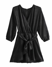 Fashion Black V-neck Long Sleeve Belted Pleated Jumpsuit