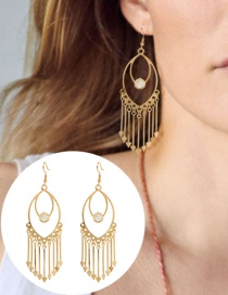 Fashion Golden Long Fringed Geometric Alloy Hollow Earrings