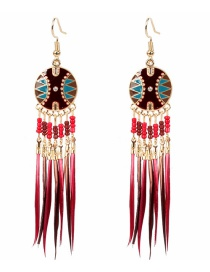 Fashion Red Tassel Feather Pearl Drop Oil Round Alloy Earrings