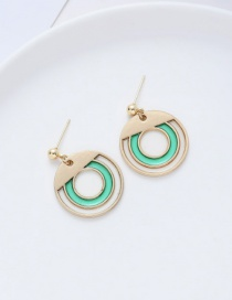 Fashion Green Geometric Contrast Color Stitching Oil Drop Hollow Alloy Earrings