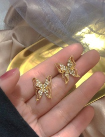 Fashion Golden Butterfly Rhinestone Hollow Alloy Earrings