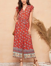 Fashion Red Lotus Leaf Sleeve Fungus Single Row Button Floral Strappy Jumpsuit