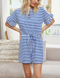 Fashion Blue Striped Waist Tie Ruffle Sleeve Jumpsuit