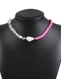 Fashion Rose Red Irregular Pearl Necklace With Crystal Braid Stitching Leather Washer