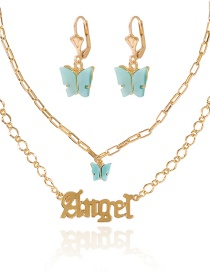 Fashion Golden Resin Butterfly Alphabet Alloy Earring Necklace