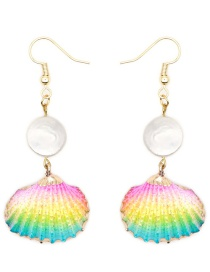 Fashion Color Mixing Handmade Pearl Natural Shell Earrings