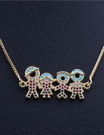 Fashion Family Of Four Golden Micro-set Zircon Boy And Girl Family Hanging Necklace