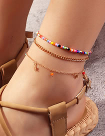 Fashion Color Mixing Geometric Chain Rice Beads Five-pointed Star Multi-layer Anklet
