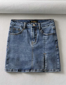 Fashion Denim Blue Washed Denim Split Skirt