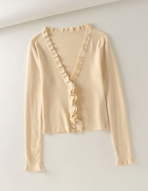 Fashion Beige Ruffled V-neck Hook Knitted Cardigan
