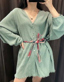 Fashion Dark Green Belted Raw Edge Lace-up Jumpsuit