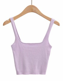 Fashion Purple Square Collar Knitted Camisole T-shirt