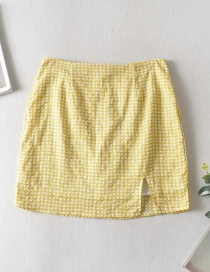 Fashion Yellow Checked Slit Skirt
