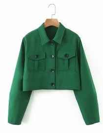 Fashion Green Lantern Sleeve Tooling Single-breasted Jacket