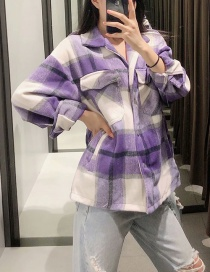 Fashion Purple Checked Woollen Lapel Loose Coat