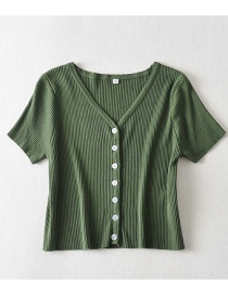 Fashion Green Wavy Knit Short-sleeved Single-breasted T-shirt