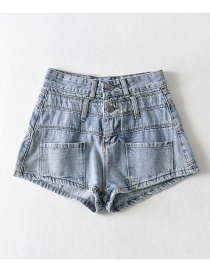 Fashion Blue Washed Double-waist Denim Slim-fit Shorts