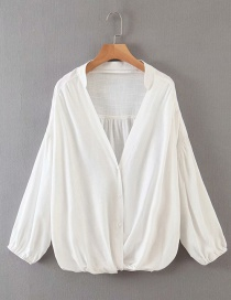 Fashion White V-neck Single-breasted Pleated Chiffon Shirt