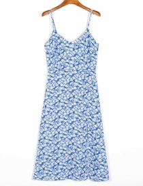 Fashion Blue V-neck Split Dress With Floral Print Suspenders