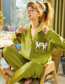 Fashion Avocado Pure Cotton Long-sleeved Printed Lapel Loose Home Wear Pajamas