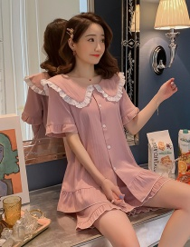 Fashion Bean Paste Pure Cotton Short Sleeve Ruffled Home Service Suit