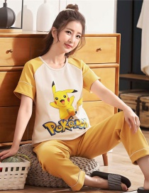 Fashion Pickup Cotton Short-sleeved Printed Trousers Loose Plus Size Pajamas Suit