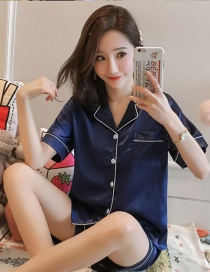Fashion Blue Thin Short Sleeve Ice Silk Print Pajamas Set
