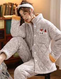 Fashion Gray Coral Velvet Three-layer Thickened Cotton-printed Home Service Suit