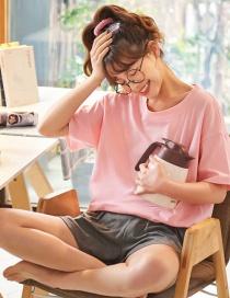Fashion Powder Pure Cotton Short-sleeved Thin-print Printed Home Service Pajamas Set