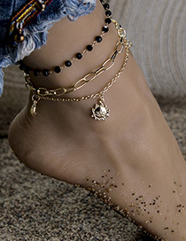 Fashion Golden Alloy Resin Sun Moon Star Bracelet Anklet Set