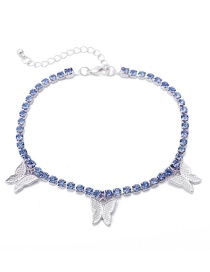 Fashion Blue Diamond White K Tassel Anklet With Claw Chain Diamond Butterfly Pendant