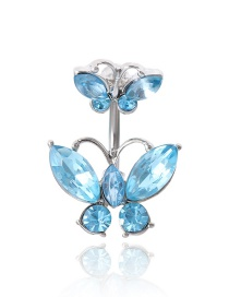 Fashion Blue Geometric Butterfly Micro-set Rhinestone Alloy Navel Nail