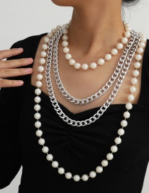 Fashion White K Pearl Beaded Long U-shaped Tassel Necklace