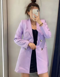 Fashion Purple Double-breasted Blazer With Flap Pockets