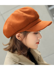 Fashion Caramel Colour Wool Stitching Octagonal Cap