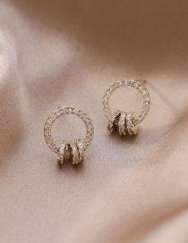 Fashion Golden Micro-set Zircon Hoop Alloy Earrings