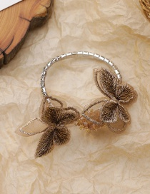 Fashion Brown Embroidered Butterfly Rhinestone Chain Alloy Bracelet