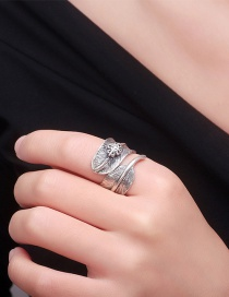 Fashion Ancient Silver Feather Alloy Open Ring