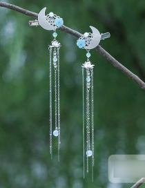 Fashion 1 Pair White Mesh Flower Butterfly Butterfly Alloy Fringe Hairpin Set