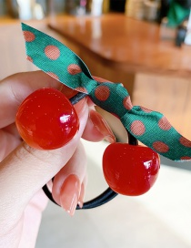 Fashion Cherry Cherry Resin Knotted Polka Dot Hair Rope