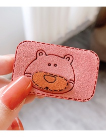 Fashion Little Bear-pink Animal Stitching Contrast Suede Bangs Velcro