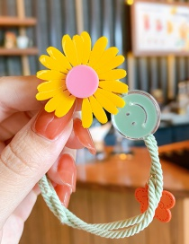 Fashion Yellow Smiley Daisy Small Daisy Resin Hit Color Knotted High Elastic Hair Rope