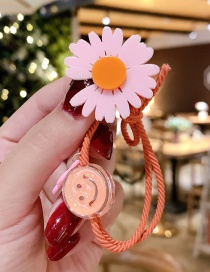 Fashion Pinky Daisy Smiley Small Daisy Resin Hit Color Knotted High Elastic Hair Rope