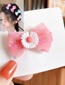 Fashion Pink Bow-hairpin Butterfly Small Daisy Alloy Resin Sequins Hairpin