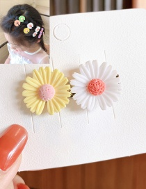 Fashion White+yellow Little Daisy Resin Alloy Contrast Hairpin