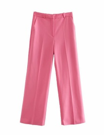 Fashion Red Straight Ankle Solid Color Wide-leg Pants