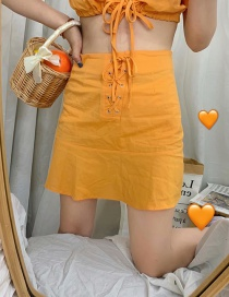 Fashion Orange Linen Ruffle Skirt