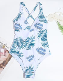 Fashion White Leaf Print One-piece Swimsuit