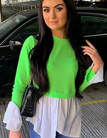 Fashion Fluorescent Green Spliced Contrast Color Long-sleeved Fake Two-piece Top