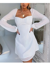 Fashion White Long-sleeved Halter Pleated Dress